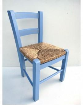 Sedia baby seduta in paglia struttura in legno robusta per bimbi azzurra