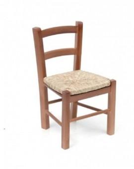 Sedia baby seduta in paglia struttura in legno robusta per bimbi noce