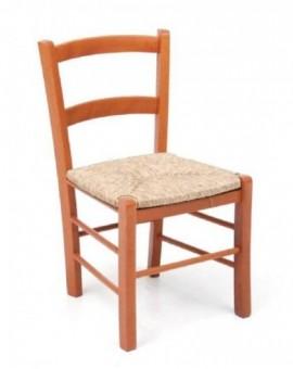 Sedia in legno Per Ristorante con seduta in paglia mod.col.ciliegio Mod.mezza