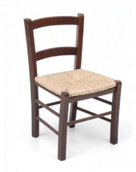Sedia per ristorante,pub in legno noce con seduta paglia mod.mezza