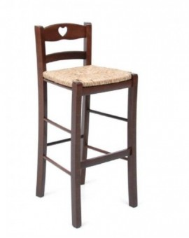 Sediolone per bambini pub per tavolo snack in legno seduta paglia noce