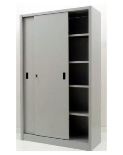 Armadio per archivio ufficio in metallo con ad ante scorrevoli 120x45x200 grigio