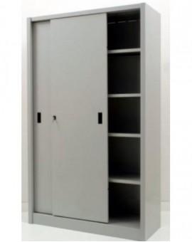 Armadio da archivio ufficio in metallo con ante scorrevoli 120x45x200 grigio