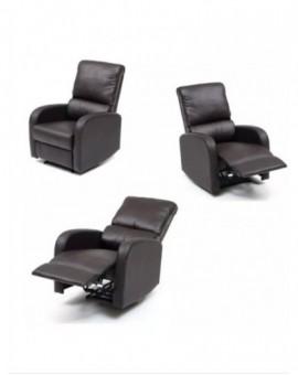 Poltrona relax eco pelle reclinabile consistema manuale col.marrone mod.camilla