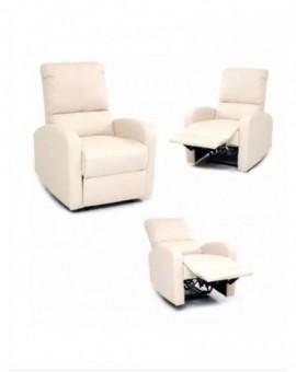 Poltrona relax fintapelle reclinabile con sistema manuale col.crema mod.camilla
