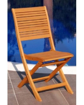 Sedia in legno eucalipto da esterno senza braccioli arredogiardino per esterno