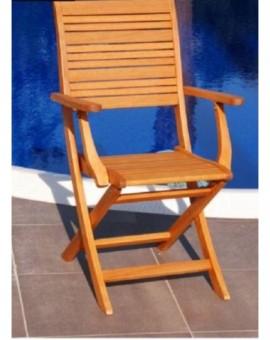 Poltrona sedia con braccioli in legno eucalipto arredo giardino per esterno