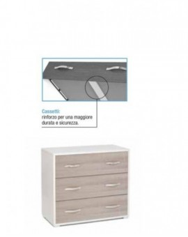 Como' maxy a 3 cassetti moderno per camera da letto col. bianco e olmo