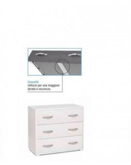 Como casa maxy a 3 cassetti moderno percamera da letto bianco frassinato