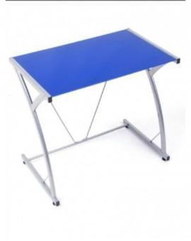 Porta pc in vetro temperato per ufficiodi colore blu struttura metallo grigio