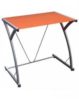 Porta pc in vetro temperato per ufficiodi colore arancio struttura metallo grig
