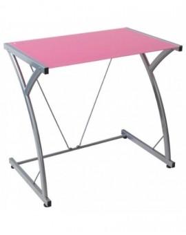 Porta pc in vetro temperato per ufficiodi colore rosa struttura metallo grig