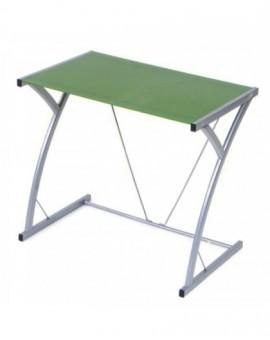 Porta pc in vetro temperato per ufficiodi colore verde struttura metallo grig