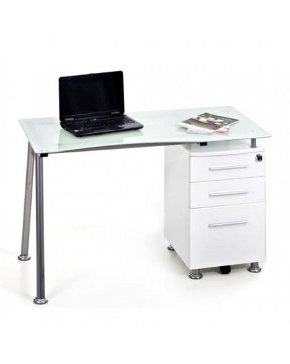 Scrivania Per Computer Bianco.Scrivania Porta Pc Con Vetro Temperato Bianco Completo Di