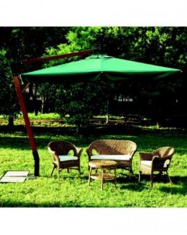 Ombrellone in legno verde 3x3 professionale arredo giardino Quen