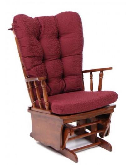 Poltrona sedia a dondolo dallas in legno massello noce cuscino bordeaux