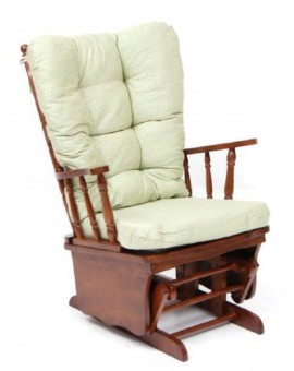 Poltrona sedia a dondolo dallas in legno massello noce cuscino beige