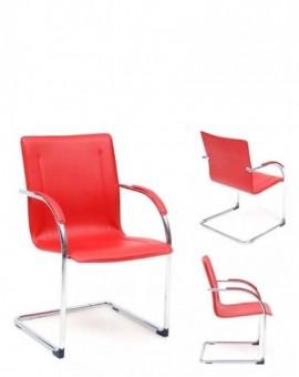 4x Sedia fissa su slitta struttura cromata e seduta Rossa finta pelle mod.stan