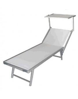 Lettino in alluminio da mare bianco in alluminio per lidi piscine