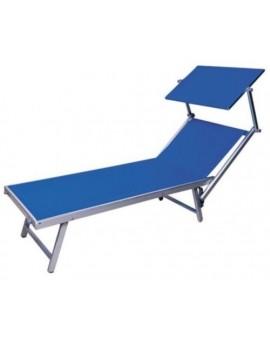 Lettino da mare 2X bagnino tutto in alluminio colore blu per lidi piscine