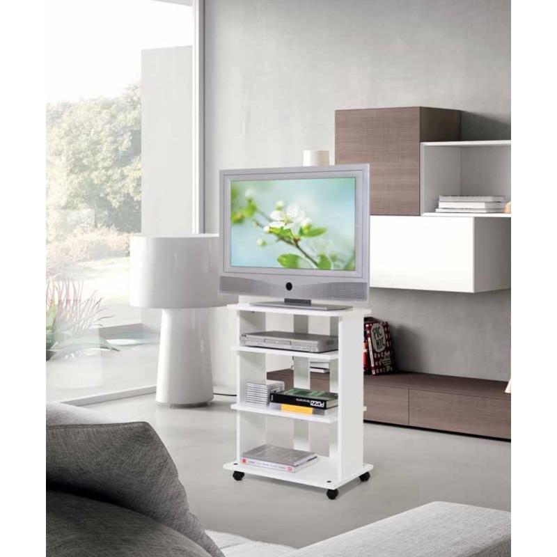Carrelli Porta Tv Led.Mobile Carrello Porta Tv Bianco In Legno Con Ruote A Vari