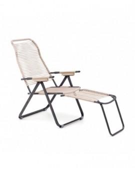 Sdraio sedia cordonata tortora struttura in metallo per esterno estate arredo