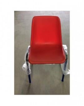 Sedia fissa in plastica mono scocca per ufficio colore rosso