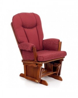 Poltrona Salotto sedia a dondolo in legno col.noce antico mod.doroty BORDEAUX