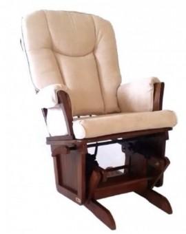 Poltrona Salotto sedia a dondolo in legno col.noce antico mod.doroty Beige