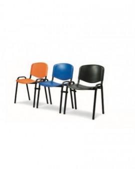 Sedia fissa per ufficio in plastica seduta e schienale blu,arancio,rosso,nero