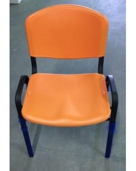 Sedia fissa per ufficio in plastica seduta e schienale arancio