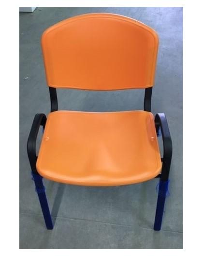 Sedie Da Ufficio Plastica.Sedia Fissa Per Ufficio In Plastica Seduta E Schienale Arancio
