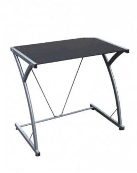 Porta computer in vetro temperato col.nero struttura in metallo grigio