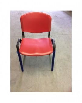 Sedia fissa per ufficio in plastica seduta e schienale rosso