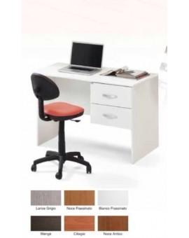 Scrivania comada con cassettiera laterale in legno bianco elegante mod.tiffany
