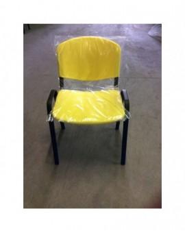 Sedia fissa per ufficio in plastica seduta e schienale Giallo
