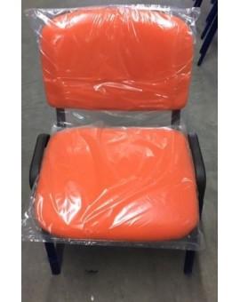 Sedia fissa da ufficio in colore tessuto arancio made in italy