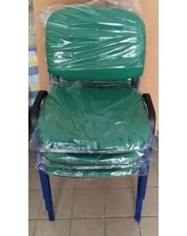 Sedia fissa da ufficio in colore tessuto Verde made in italy