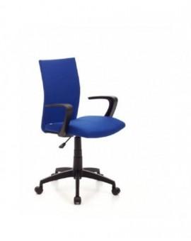 Poltrona girevole operativa da ufficio in tessuto blu base e bracciolo nero