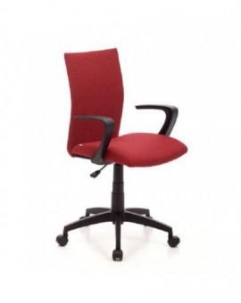 Poltrona girevole operativa da ufficio in tessuto rosso base e bracciolo nero