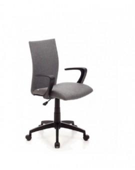 Poltrona girevole operativa da ufficio in tessuto grigio base e bracciolo nero