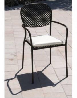 Poltrona sedia con braccioli in metallo con cuscino