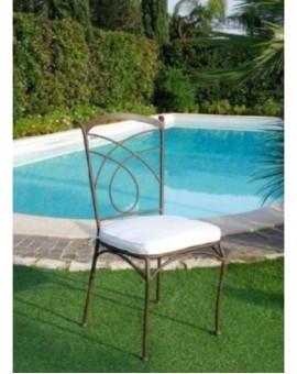 Sedia in metallo per esterno senza braccioli con cuscino arredo per esterno