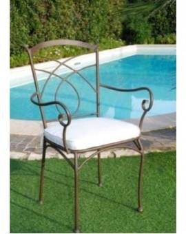 Sedia poltrona in metallo per esterno con braccioli con cuscino arredo