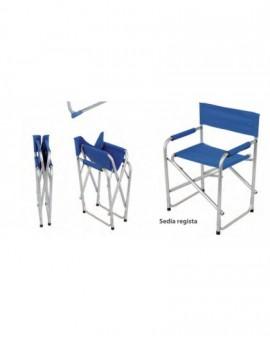 Sedia mod.regista in alluminio tessuto colore blu poliestere