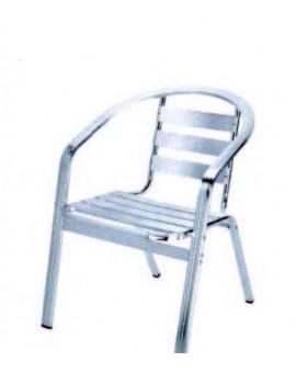 Sedia alluminio impilabile con braccioli con rinforzo doppio tubo mod.nisy