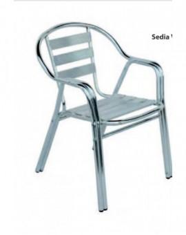 Sedia in alluminio impilabile completa rinforzo doppio tubo mod.vienna