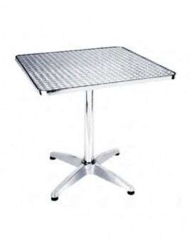 Tavolo quadrato 60x60 basso in alluminio da bar completa piano in acciaio inox