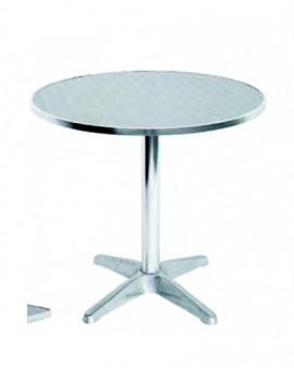 Tavolo tondo diametro 70 basso in alluminio da bar con piano in acciaio inox