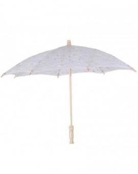 Ombrello in pizzo traforato bianco con manico cm 88 per signora,sposa addobbo